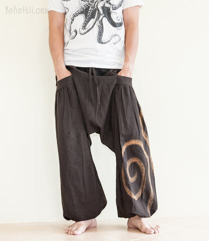 Hippie Pants - Hand Painted Artistic Swirl Harem Aladdin Unisex Pants Low Crotch Big Pockets (Dark Brown)