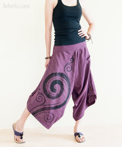 Hippie Pants - Harem Kanok Swirl Pattern Textured Cotton Pants With Pull Up Hem (Purple)