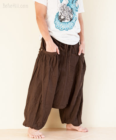 Hippie Pants - Hemp-like Textured Cotton Unisex Baggy Harem Pants Big Pockets (Plain Brown)