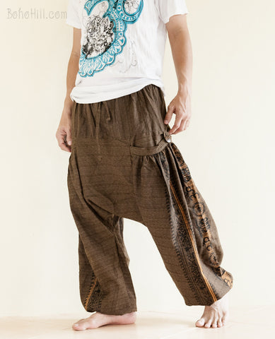 Hippie Pants - Hindu Om Script Aladdin Harem Pants Textured Cotton Big Pockets (Brown)