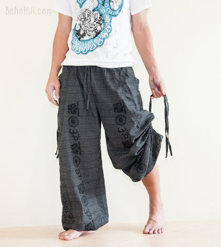 Hippie Pants - Hindu Om Script Convertible Textured Cotton Aladdin Pants (Black)
