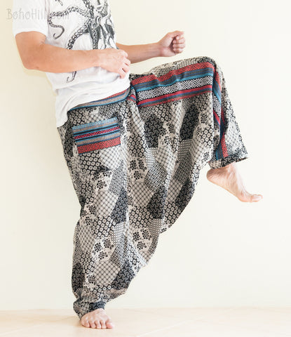 Hippie Pants - Hmong Embroidery Baggy Harem Pants Unisex Low Crotch Elastic Waist (Japanese Patch)