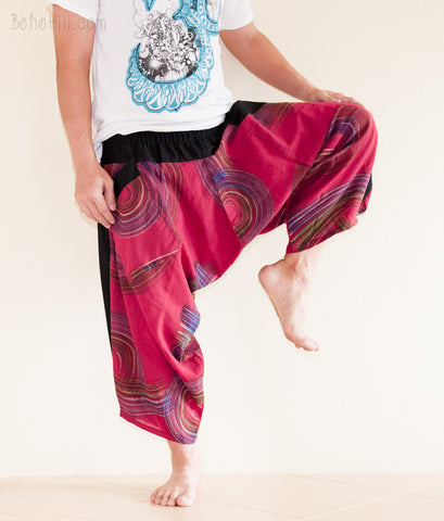 Hippie Pants - Ninja Style Samurai Harem Pants Art Trousers (Burgundy Brush)