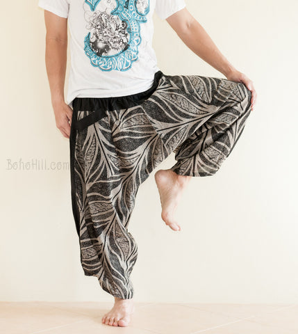 Hippie Pants - Ninja Style Samurai Harem Pants (Black Amazon Leaf)