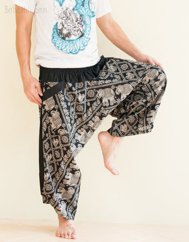Hippie Pants - Ninja Style Samurai Harem Pants (Black Elephants Wild Flower)
