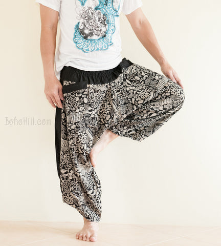 Hippie Pants - Ninja Style Samurai Harem Pants (Black Flower Jungle)