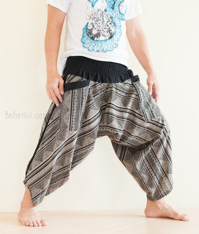 Hippie Pants - Ninja Style Samurai Harem Pants (Black Hill Tribe Stripe)