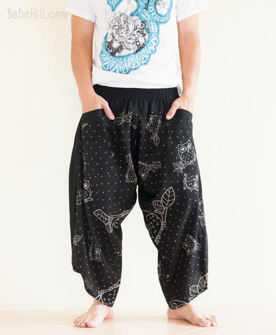 Japanese Owl Design Ninja Pants Harem Trousers Black Parkour