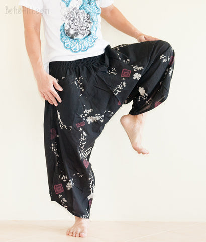 Hippie Pants - Ninja Style Samurai Harem Pants (Black Japanese Red Seal)