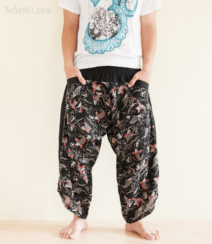 Hippie Pants - Ninja Style Samurai Harem Pants (Black Koi Fish)