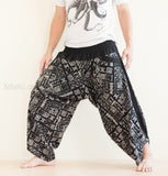Hippie Pants - Ninja Style Samurai Harem Pants (Black Primitive Tribal)