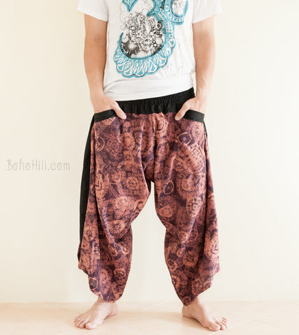 Hippie Pants - Ninja Style Samurai Harem Pants (Warm Purple Dye Batik)