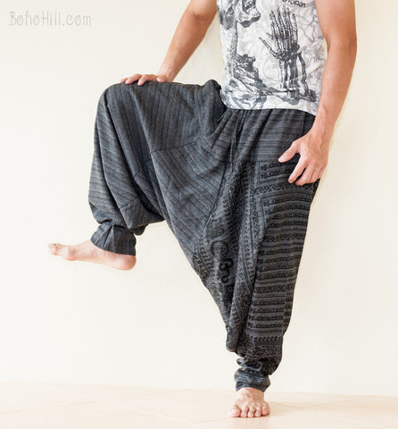 Hippie Pants - Om Ancient Hindu Script Pattern Harem Aladdin Unisex Textured Cotton Pants (Black)