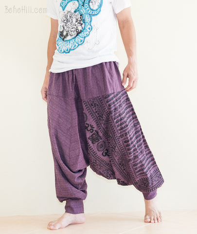 Hippie Pants - Om Ancient Hindu Script Pattern Harem Aladdin Unisex Textured Cotton Pants (Purple)