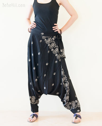 Hippie Pants - Paisley Pattern Rayon Super Soft Light Weight Long Harem Pants (Black Paisley)