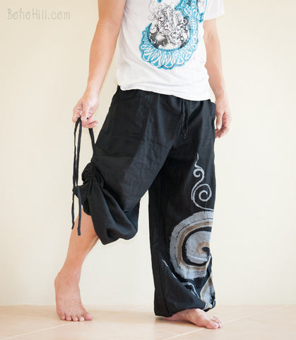 Hippie Pants - Piña Pineapple Fiber Blend Fabric Convertible Aladdin Unisex Pants Swirl Pattern (also In Brown)