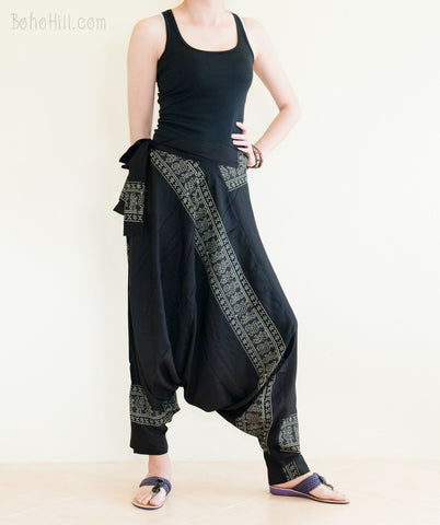 Hippie Pants - Super Soft Rayon Light Weight Unisex Harem Pants Ancient Egyptian (Black, White, Gray)