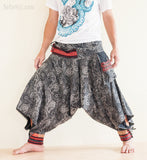 Hippie Pants - Tribal Harem Ninja Pants Hmong Low Crotch Unisex Funky Trousers (Paisley Eye)