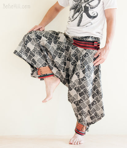 Hippie Pants - Tribal Warrior Harem Ninja Pants Funky Hill Tribe Trim Unisex Trousers (Japanese Square)