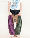 hippie patchwork baggy aladdin bloomers low crotch harem pants om sanskrit pattern relaxed loose fit pull on big pockets purple brown green no20 pocket