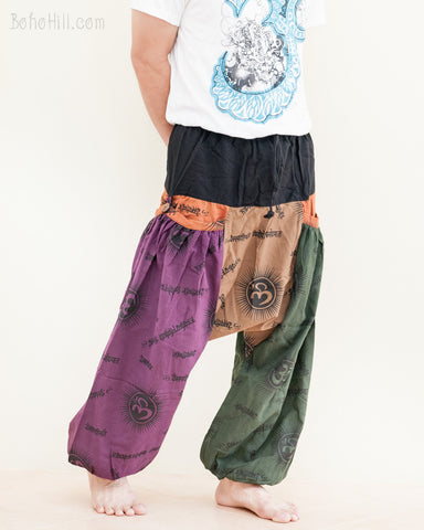 hippie patchwork baggy aladdin bloomers low crotch harem pants om sanskrit pattern relaxed loose fit pull on big pockets purple brown green no20 walk