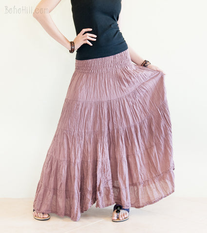 Hippie Skirt - Boho Broomstick Tiered Long Skirt Smock Waist Crinkle Cotton Gypsy Hippie Style (Earth Pink)