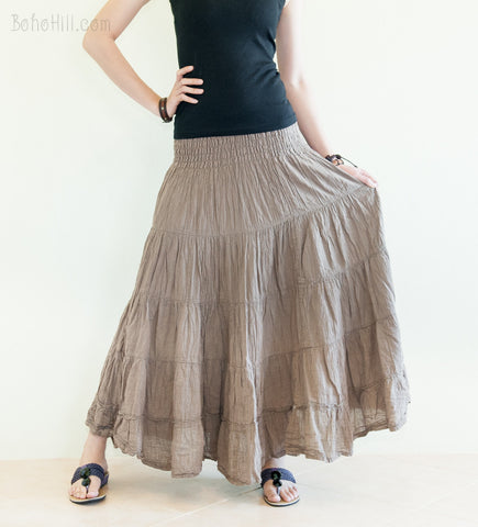 Hippie Skirt - Boho Broomstick Tiered Long Skirt Smock Waist Crinkle Cotton Gypsy Hippie Style (Light Brown)