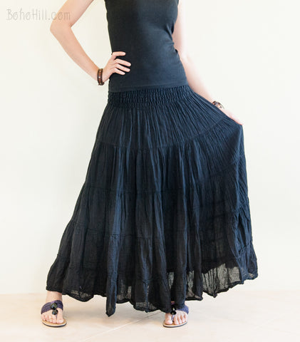 Hippie Skirt - Boho Chic Broomstick Tiered Long Skirt Smocked Waist (Black)
