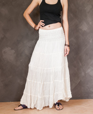 Hippie Skirt - Boho Chic Broomstick Tiered Long Skirt Smocked Waist (Cream)