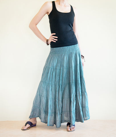 Hippie Skirt - Broomstick Tiered Long Skirt Smock Waist Crinkle Cotton Gypsy Hippie Style (Teal Blue)
