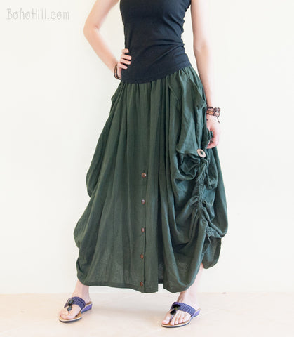 Hippie Skirt - Convertible Skirt To Wide Leg Pants Pull Up String Soft Organic Cotton (3 Colors)