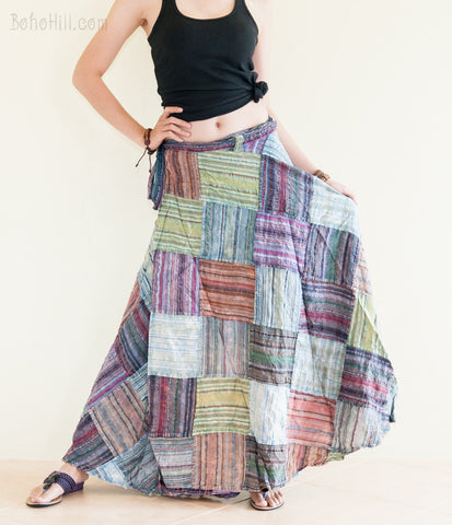 Hippie Skirt - Unique Stonewashed Patchwork Warp Around Gypsy Skirt (PS-2)