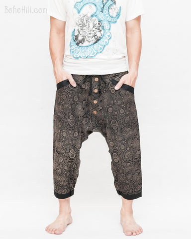 hipster indie casual 4/5 shin Length Cargo Unisex Capri Drop Crotch Pants cropped sailer crew trousers earthy black paisley front