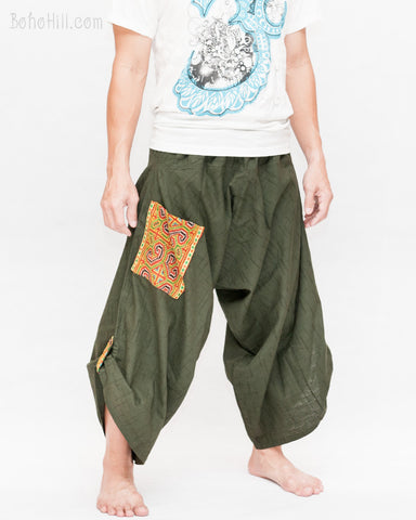 hmong baggy tribal embroidery pocket handmade samurai harem pants unisex trousers dark green textured cotton side
