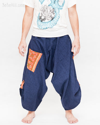 hmong baggy tribal embroidery pocket handmade samurai harem pants unisex trousers navy blue textured cotton front