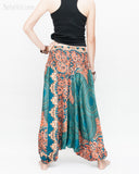 Honeycomb Mandalas Harem Pants Low Crotch Yoga Trousers (Teal Orange) back