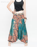 Honeycomb Mandalas Harem Pants Low Crotch Yoga Trousers (Teal Orange) front