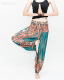 Honeycomb Mandalas Harem Pants Low Crotch Yoga Trousers (Teal Orange) namaste