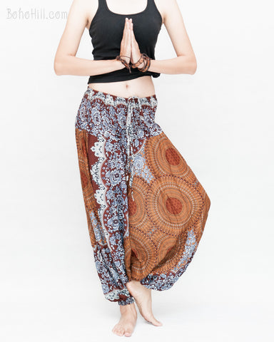 Honeycomb Mandalas Harem Pants Low Crotch Yoga Trousers (Brown) namaste