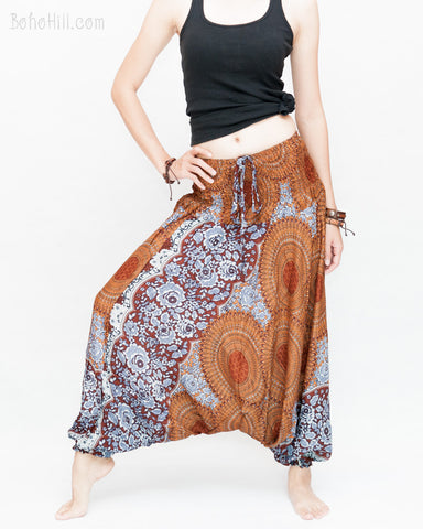 Honeycomb Mandalas Harem Pants Low Crotch Yoga Trousers (Brown II) wide