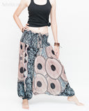 Honeycomb Mandalas Harem Pants Low Crotch Yoga Trousers (Nude Blue) side