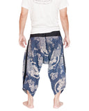 Japanese Koi Fish Ninja Style Samurai Harem Pants Active Cropped Trousers (Blue Texture) back