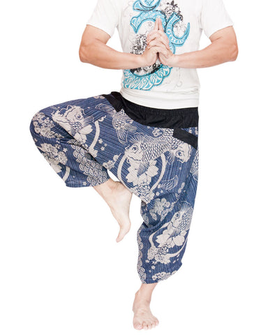 Japanese Koi Fish Ninja Style Samurai Harem Pants Active Cropped Trousers (Blue Texture) dance