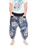 Japanese Koi Fish Ninja Style Samurai Harem Pants Active Cropped Trousers (Blue Texture) front