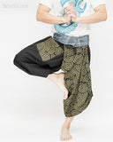 japanese spiral design tribal samurai warrior harem pants indigo fold over waist flexible active parkour martial art yoga loose fit flow trousers dance
