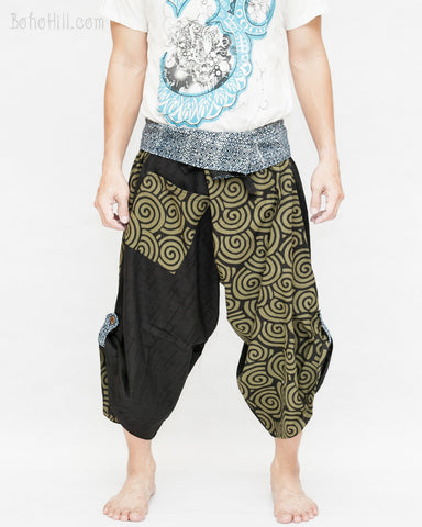 japanese spiral design tribal samurai warrior harem pants indigo fold over waist flexible active parkour martial art yoga loose fit flow trousers front