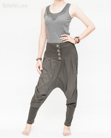 knickerbocker tapered leg drop crotch harem pants unisex knickers nikka bokka colonial style bloomers trousers pull on elastic waist cuff leg jersey cotton charcoal brown left