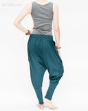 knickerbocker tapered leg drop crotch harem pants unisex knickers nikka bokka colonial style bloomers trousers pull on elastic waist cuff leg jersey cotton teal turquoise blue green back relax