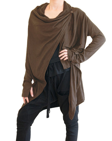 Long Cardigan Creative Versatile Urban Ninja Style Drape Jacket Jersey Cotton Vest Long Sleeves Brown side
