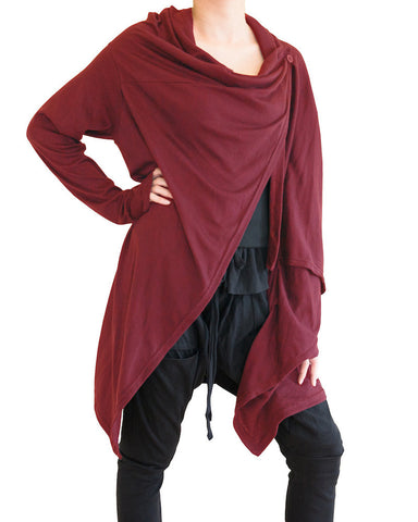 Long Cardigan Creative Versatile Urban Ninja Style Drape Jacket Jersey Cotton Vest Long Sleeves Deep Red front